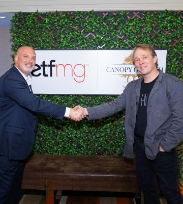 SALT 2019 ETFMG/Canopy Growth Corporation cocktail event Bruce Linton and Sam Masucci